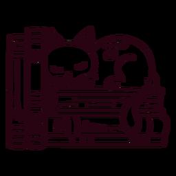 Curso de gato dormindo na estante