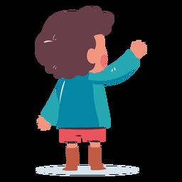 Saludo de niño detrás de personaje