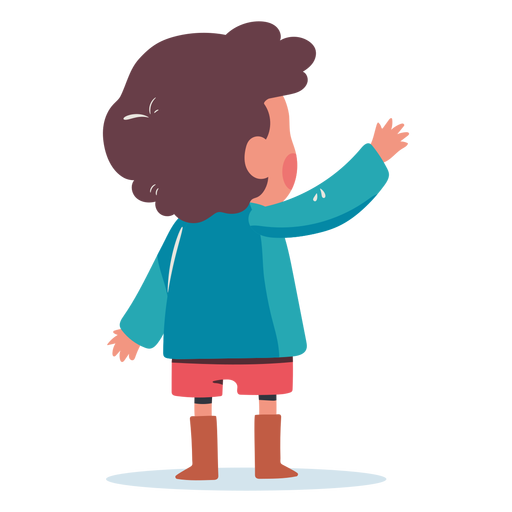 Niño saludando detrás de personaje