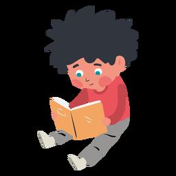 Menino lendo o personagem do livro