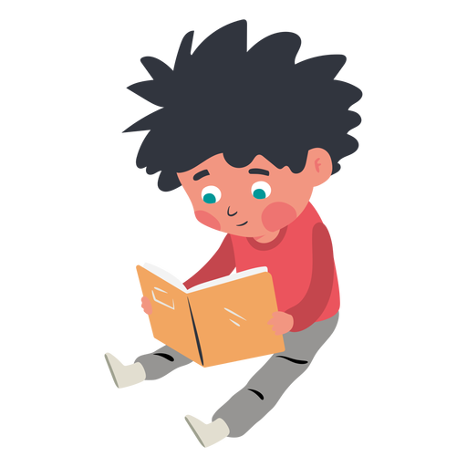 Boy reading book character