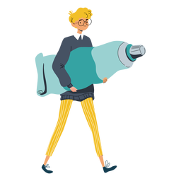 Boy with big paint tube character