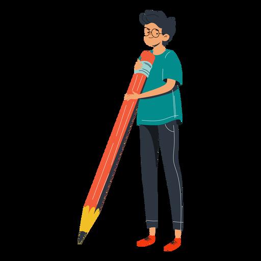 Niño con gran personaje de lápiz rojo