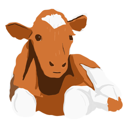 Brown cow lying down illustration