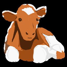 Vaca marrón acostada ilustración