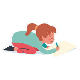 Personaje de escritura de niña tranquila