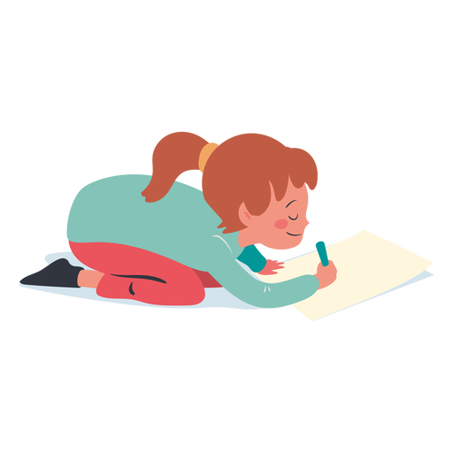 Calm girl writing character