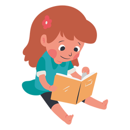 Calm kid reading book character