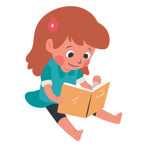 Calm kid reading book character Transparent PNG
