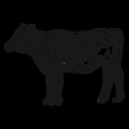 Vaca mirando ilustración lateral