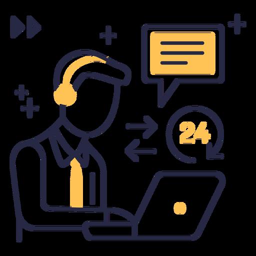 Icono de trazo de servicio al cliente