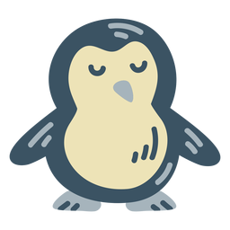 Cute blue penguin flat