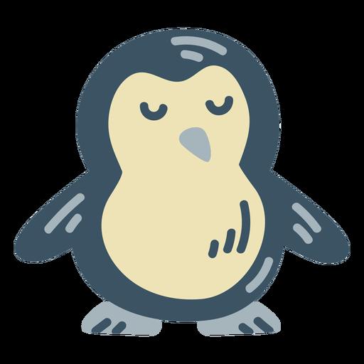 Lindo pingüino azul plano