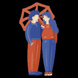 Linda pareja bajo la ilustración del paraguas