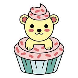 Cute happy bear cupcake flat
