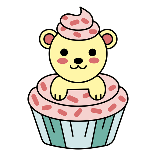 Cute happy bear cupcake flat Transparent PNG