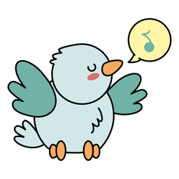 Cute happy bird singing flat