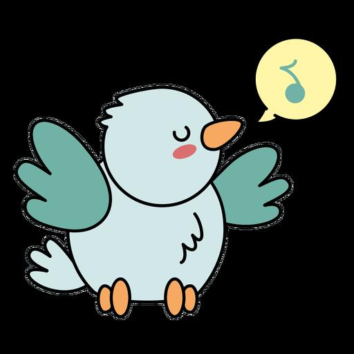 Cute happy bird singing flat