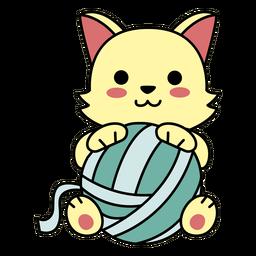 Lã de gato feliz bonito plana