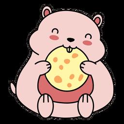 Biscoito bonito hamster feliz plana