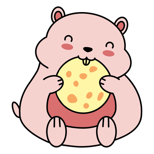 Cute happy hamster cookie flat Transparent PNG