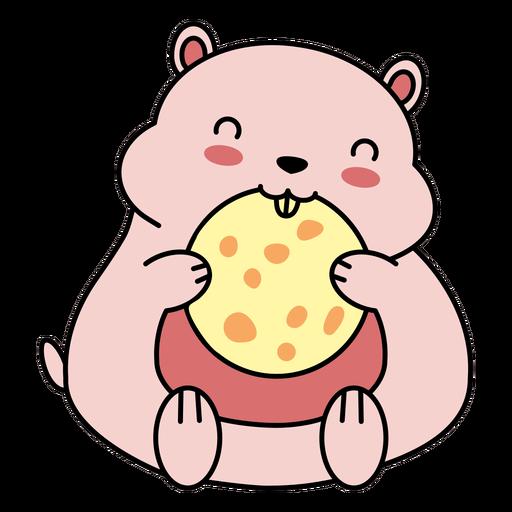 Linda galleta de hámster feliz plana