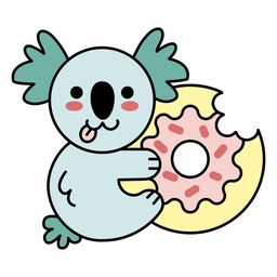 Cute happy koala donut flat