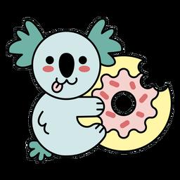 Lindo donut koala feliz plana