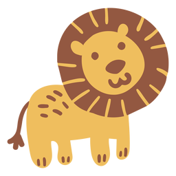 Cute happy lion flat