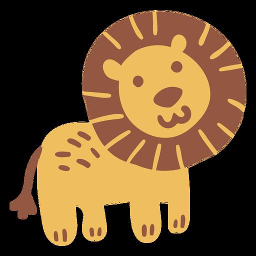 Cute happy lion flat