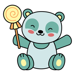 Doces de panda feliz fofo plana