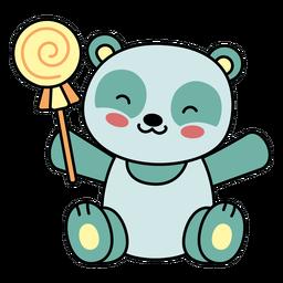 Lindo panda feliz caramelo plano