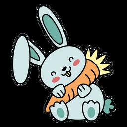 Coelho fofo e feliz com cenoura plana