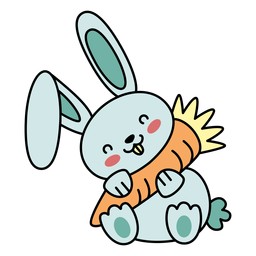 Cute happy rabbit carrot flat