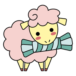 Cute happy sheep candy flat