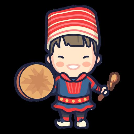 Cute norwegian man folklore character