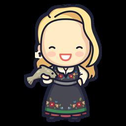 Cute norwegian woman character