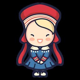 Cute norwegian woman folklore character