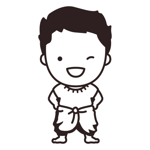 Cute thai man character stroke Transparent PNG