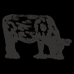 Comendo vaca preto e branco