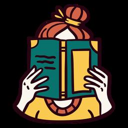Ilustración de libro de lectura de niña
