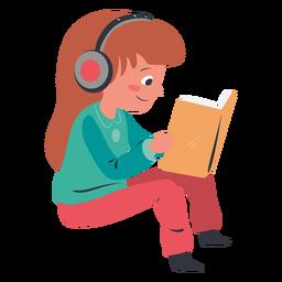 Niña leyendo el personaje de auriculares