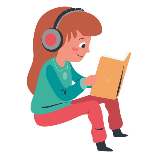 Girl reading headphones character Transparent PNG
