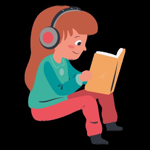 Girl reading headphones character