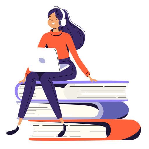 Girl sitting pile of books character