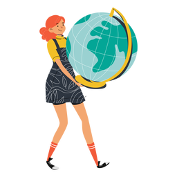 Girl with big globe character
