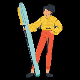 Chica con carácter de pluma grande