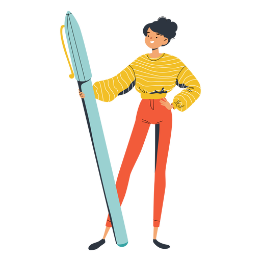 Girl with big pen character Transparent PNG