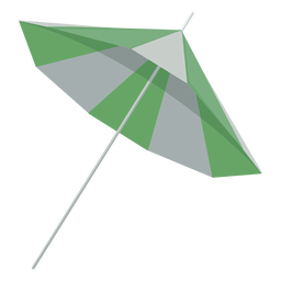 Ilustración lateral de sombrilla verde