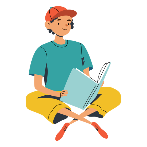 Guy with big book character Transparent PNG